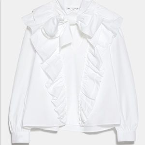 Zara top with ruffles and tie